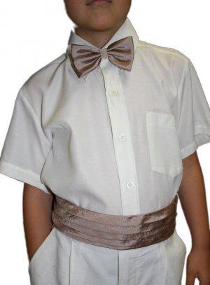 ceinture de cortège pour garçon marron effet soie