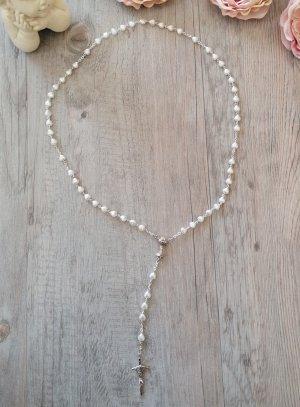 chapelet communion perle coeur blanche