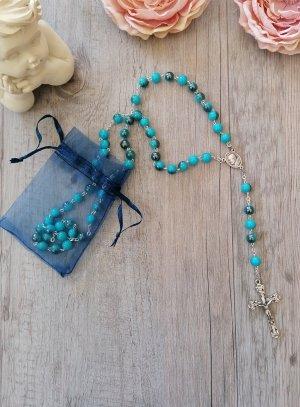 chapelet divine miséricorde perles bleu turquoise
