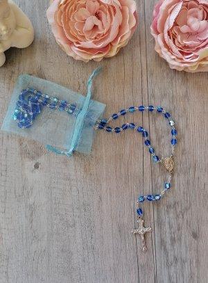 chapelet miséricorde perles transparentes bleu roy