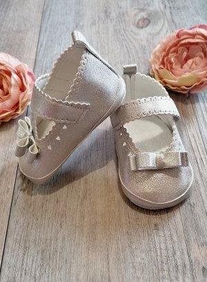chaussons bébé fille baptême mariage gris argent