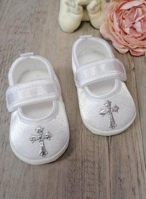 chaussons baptême croix bébé fille gris argent