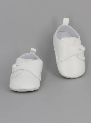 chausson blanc baptême bébé garçon