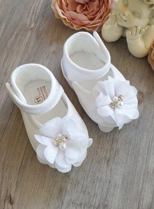 Chaussons baptême bébé fille satin Blancs avec strass
