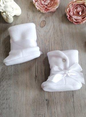 Chaussons bottes bébé fille hiver - botte blanche bébé ruban blanc