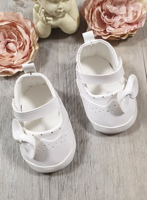 Chaussons ballerine baptême bébé fille blanches