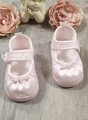 Chaussons de baptême bébé fille princesse rose