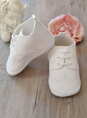 Chaussons de baptême bébé garçon blanc mat