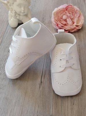 Chaussons de baptême bébé garçon blanc verni