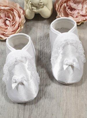 Chaussons de baptême blanc fille SATIN BLANC