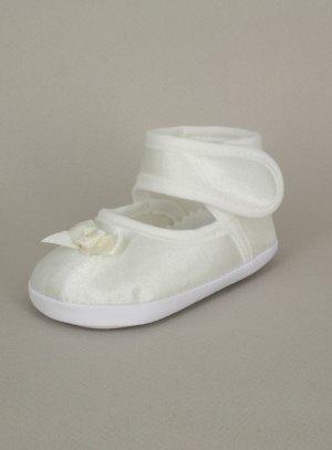 chaussons baptême ivoire bébé fille satin