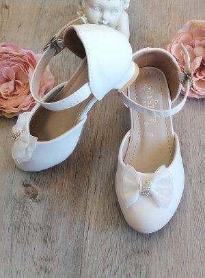 Chaussure escarpin fille scintillante blanc petit noeud strass