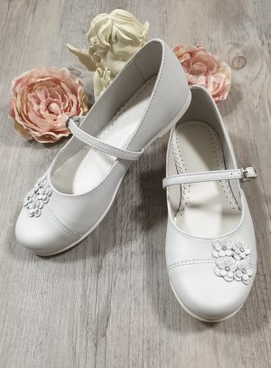 Chaussures blanches fille en cuir Greta
