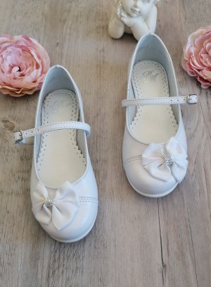 Chaussures blanches fille en cuir Isma