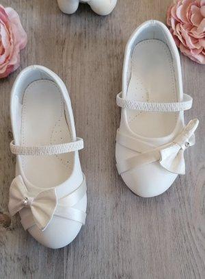 Chaussures cérémonie fille ballerine satin noeud et strass BLANCHE