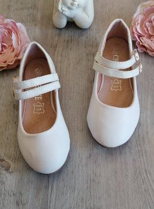 chaussures cérémonie fille double lanière blanche paillette