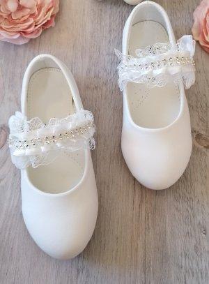 Chaussures de cérémonie pour fille avec dentelle et strass BLANCHE
