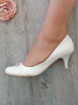 Chaussures cérémonie femme petit talon strass ivoire écru