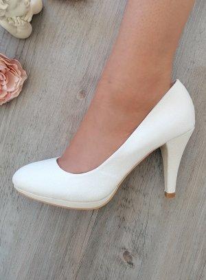 Chaussures de mariée blanches paillettes scintillantes