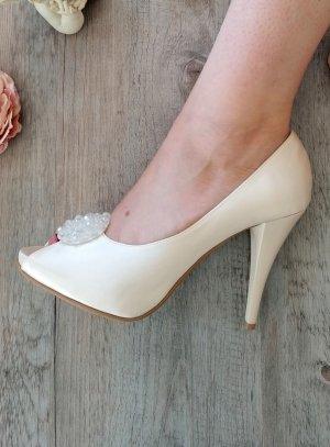 Chaussures cérémonie femme satin et cristal satin ivoire écru