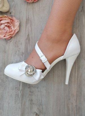 Chaussures escarpin cérémonie femme satin et lanière blanche