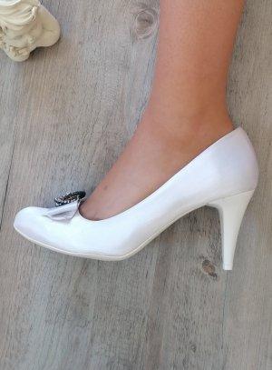 Chaussures cérémonie mariage femme satin blanche noeud et strass