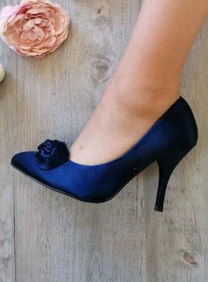 Chaussures de soirée femme satin fleur bleu marine