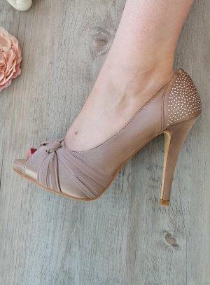 Chaussures de soirée femme satin et strass  marron glacé