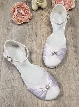 Chaussures jeune fille petit talon blanche satin et strass