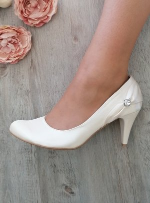 Chaussures ivoire écrue mariage femme satin et strass