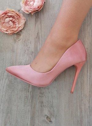 Chaussures cérémonie femmes escarpin satin rose
