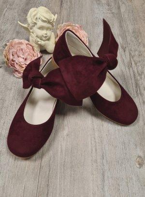 Chaussures soirée fille bordeau noeud large