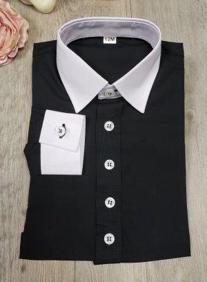 chemise enfant bicolor noir