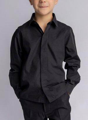 Chemise garçon noir bouton non visible