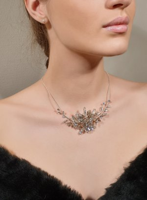 Collier de mariée strass et perles