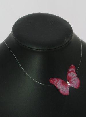 Collier papillon mariage fushia - bijoux mariage enfant ou femme