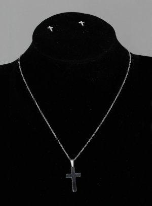 Pendentif et boucle d'oreille croix argent