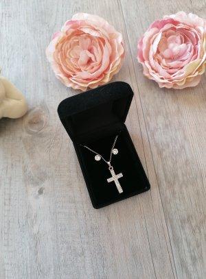 bijou pendentif croix strass avec boucle strass pour mariage, baptême communion