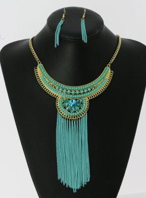 collier plastron turquoise chic - bijou soirée femme et pas cher