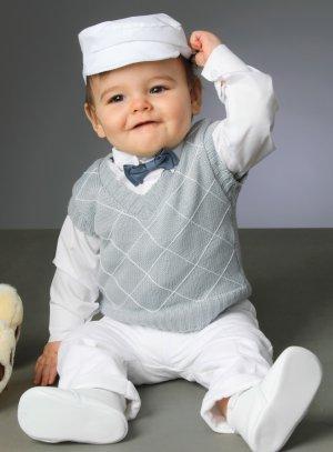costume bébé gris et blanc baptême mariage