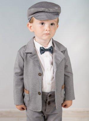 costume bébé mariage gris avec casquette