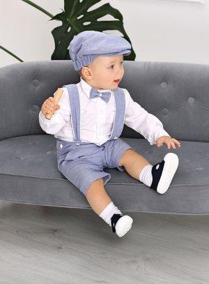Costume bébé bermuda pour mariage cérémonie ou baptême bleu et blanc