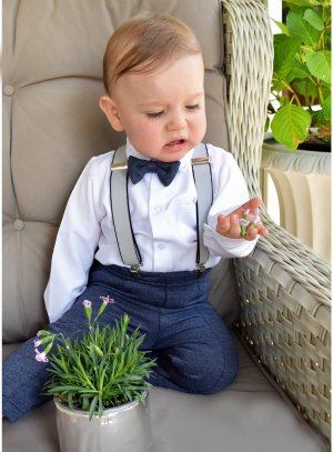 Costume bretelles bébé garçon bleu marine Noah