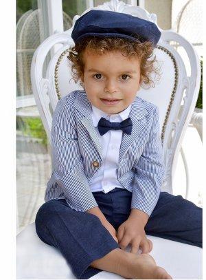 Costume bébé garçon mariage bleu marine complet casquette et veste