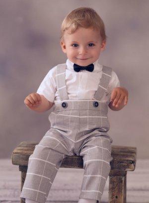 Costume bébé garçon pour baptême ou mariage en salopette !