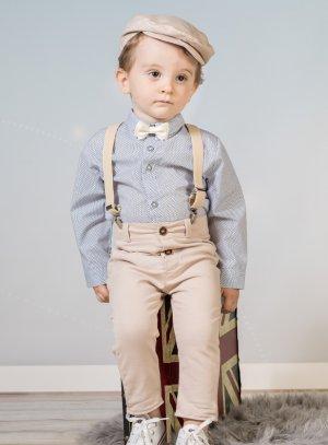 costume bébé pantalon bretelle beige