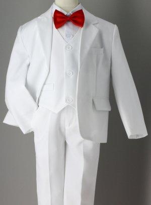 Costume blanc enfant noeud papillon rouge