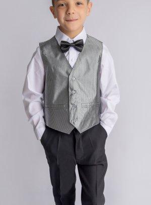 Costume garçon Léo noir et gris argent