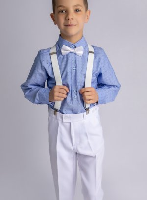 Costume tenue mariage garçon Thomas blanc bleu bretelle