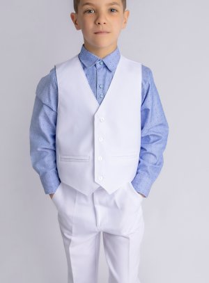 tenue mariage communion garçon Thomas blanc et bleu avec gilet